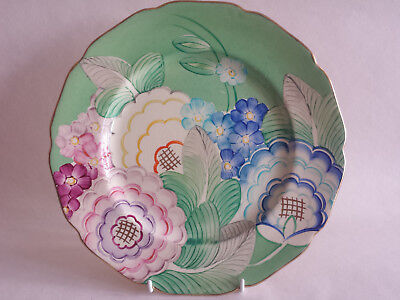 Art Deco Grays Scalloped Edge Colourful Large Plate Hand Painted & Gilded • 74.99£