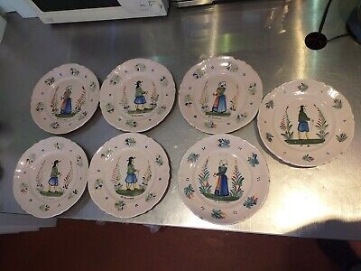 HR QUIMPER Antique Faience Majolica Tin Glaze Glazed Plates Dishes Hand Painted  • 30£