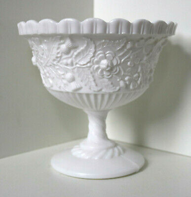 Vintage Large White Milk Glass Footed Dish / Pressed Opaline Thistle Leaves • 12£