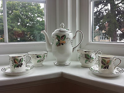 Grays Lustre Ware Silver & Green Vine Leaf Coffee Set For Two A7513 • 89.99£