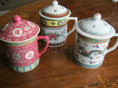 3 Chinese Tea Mugs With Lids • 12£