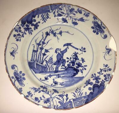 18th C English Liverpool Delft Chinoserie Plate Painted With Man & Coromandel • 78.99£