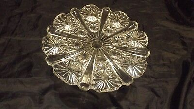 Pressed Clear Glass Cake Stand • 4£