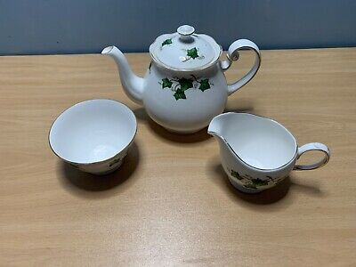 Colclough Ivy Leaf Bone China Teapot Sugar Bowl And Milk Jug Set • 9.99£