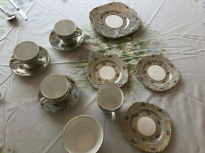 Colclough Gold Chintz Pattern Vintage Bone China Tea Cup And Saucer • 35£