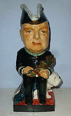 KEVIN FRANCIS Large Toby Jug WINSTON CHURCHILL With BULLDOG 20th Century Replica • 149.95£