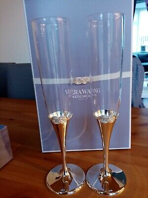 Vera Wang By Wedgwood – Silver Plated Infinity Toasting Flutes • 16£