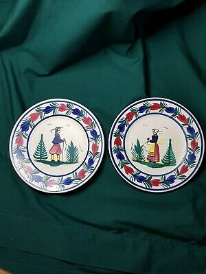 Henry Quimper Pair Of Collectible French Faience Plates • 60£