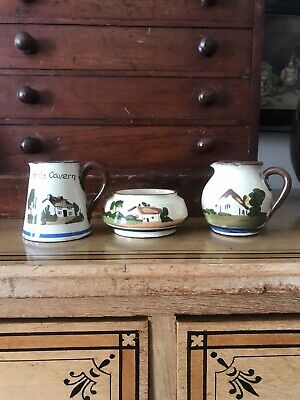 3 Vintage Pretty Watcombe Torquay Motto Pottery Jugs And Bowl Base Stamped • 1.99£