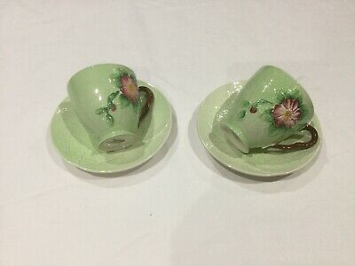 Carlton Ware Australian Design  Two Green Wild Rose Cups And Saucers • 12£