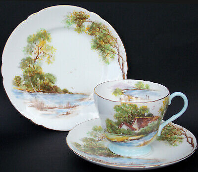 Superb Shelley Scenic 'old Mill' Pattern Richmond Shape Trio • 23.95£