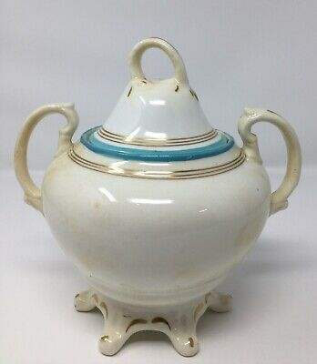Antique Sugar Bowl With Lid Painted Gold/turquoise Rim • 1.99£