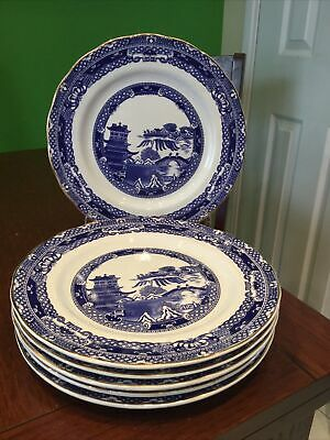 Ringtons Willow Pattern Dinner Plates X 6 - Wade • 18£