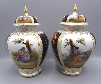 Pair Large 10  19th Century Dresden Porcelain Hand Painted Urns • 100£