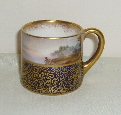 Antique Royal Doulton MINIATURE Mug ~Scenic & Gilded Pattern • 0.99£