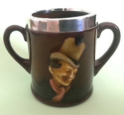 Royal Doulton Pottery Kingsware Miniature Twin Handled Cup, Silver Mounted • 49£