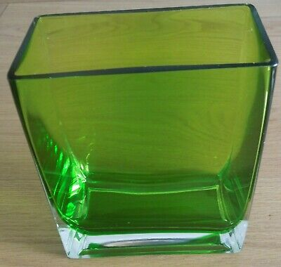 Dark Green Oblong Glass Vase / Bowl. • 4.99£