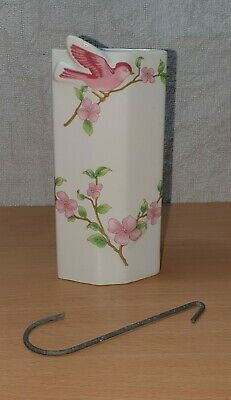 Wall Pocket Vase Vintage Pink Bird And And Flowers Gorgeous.  • 7.99£