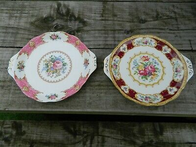 "Royal Albert ""Lady Hamilton"" &  Lady Carlyle  Bone China Cake Plates Vintage  • 6£"