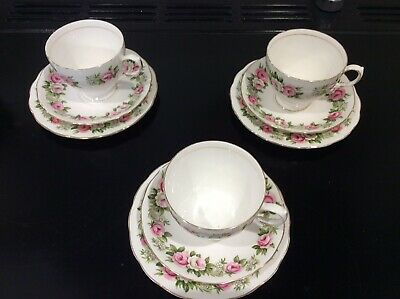 Vintage Colclough Bone China 'Enchantment' Trio Three Cups Saucers And Plates • 10£