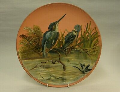 Vintage Torquay Devon Watcombe Pottery Charger Plate With Kingfishers Excellent • 15£