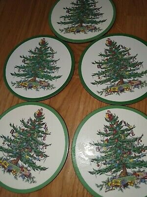 Spode Christmas Tree Coasters 5 • 5£