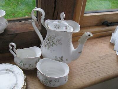 Royal Albert Haworth Tall Coffee Pot  8 1/2  Plus Sugar Bowl And Cream Jug • 80£