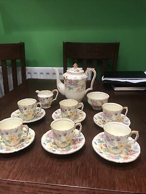 SuPerb Crown Staffordshire Hand Painted Tea Set For Six RARE C1930 With Teapot • 79.95£