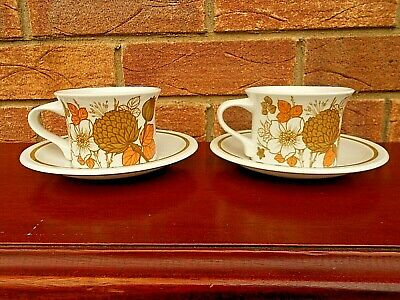 2 Vintage Midwinter Countryside Cups & Saucers • 6.75£