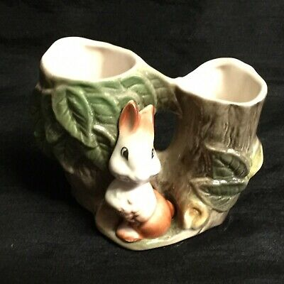 💚a Very Sweet Vintage 'withernsea Eastgate Pottery' Fauna Rabbit Twin Vase # 25 • 6£