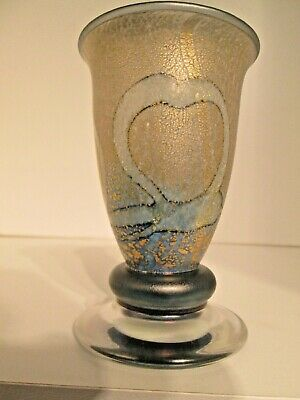 Isle Of Wight Studio Glass 'New Golden Peacock Blue' Footed Vase Timothy Harris • 40£