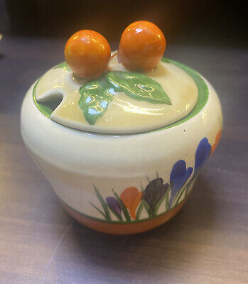 BIZARRE BY CLARICE CLIFFE ART DECO CROCUS PATTERN PRESERVE POT AND LID Free Post • 110£
