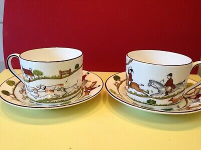 Pair Of Wedgwood Hunting Scenes Set Of 2 Teacups Tea Cup & Saucer Straight Sided • 45£