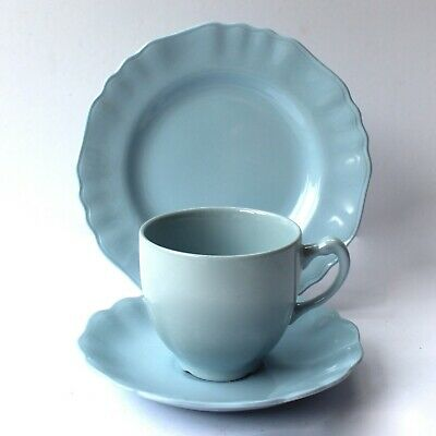 J&G Meakin Blue Tea Cup Saucer & Side Plate Trio Utility 1950s • 10£