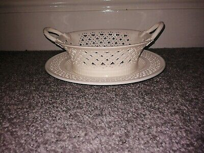 Hartley Greens And Co Leeds Pottery Creamware Cherry Basket On Small Pierced Pl • 48.95£