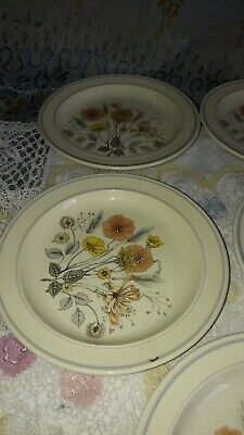 MEAKIN RETRO VINTAGE 1970s POTTERY TREND HEDGEROW SIDE PLATES X 5 • 12£