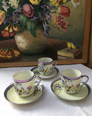 Vintage Japan Lustreware Coffee Cans With Saucers X3 Purple Cream Flowers Birds • 4.99£