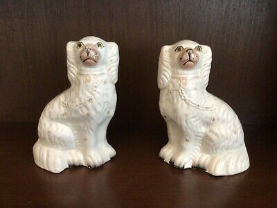 Vintage Pair Of Staffordshire Flatback Mantle Piece Wally Dogs In Cream • 30£