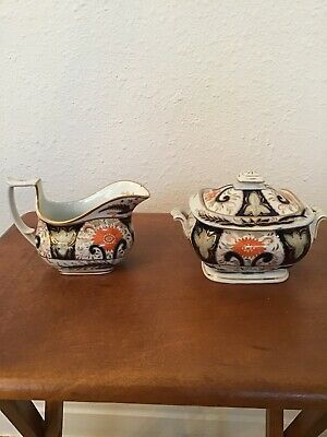 Antique London Shape New Hall? Imari Design Sugar And Creamer Early 1800's • 497.71£