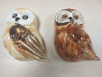 Vintage Babbacombe Devon Pottery 2 Wall Mounted Owl String Holders D12 • 5£