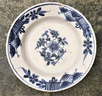 18th C English( London Or Bristol) Delft Plate Painted With Flowers C 1720+ • 89.99£