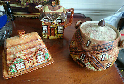 Vintage Price Bros Cottage Ware Teapot, Biscuit Barel And Ware-Style Butter Dish • 25£
