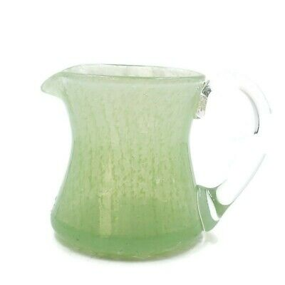 Vintage Green Hand Blown Textured Crackle Glass Creamer Pitcher Clear Handle • 7.95£