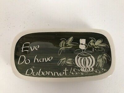 "Jersey Pottery Pin Tray/ Pin Dish Plate ""Eve Do Have A Dubonnet"" Hand Painted • 2.99£"