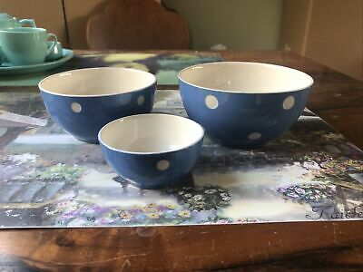 T G Green Domino Three Bowls Like Cornishware • 15£
