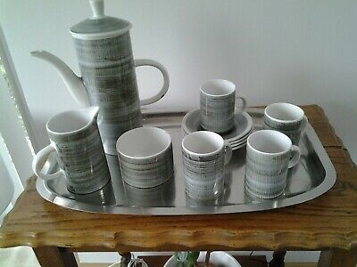 VINTAGE  COFFEE SET,  RYE POTTERY ,1970's, NEVER USED • 10£