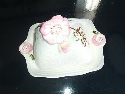 Staffs. Butter Dish Hand Painted. By Shorter And Son. Pink Dog Rose Design. • 15£