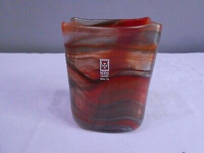 Mdina Red Swirl Square Glass Vase Signed And With Label • 12£