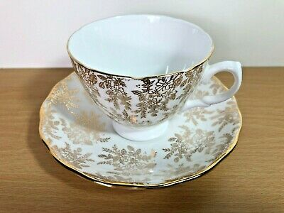 Vintage Royal Vale Bone China Cup & Saucer -  White & Gold Filigree • 6£