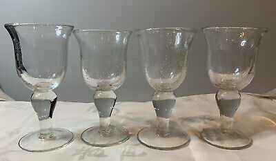 Four Hand Made Clear Bubble Glasses Large Heavy Wine Glasses/goblets • 30£